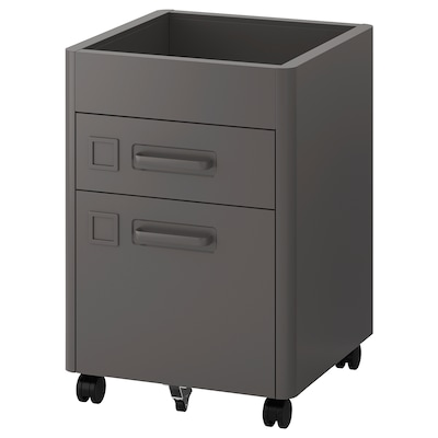 IDÅSEN Drawer unit with smart lock, dark grey, 42x61 cm