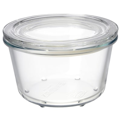 IKEA 365+ food container with lid glass 9 cm 14 cm 600 ml
