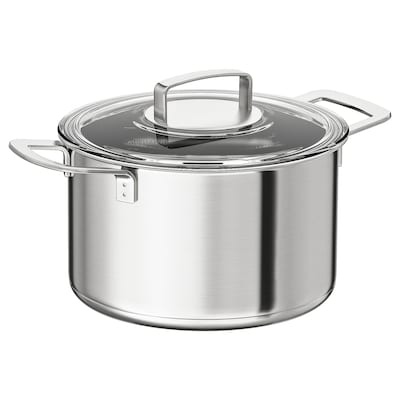 IKEA 365+ pot with lid stainless steel/glass 16 cm 24 cm 5 l