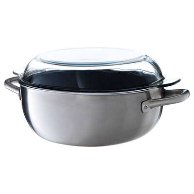 IKEA 365+ Casserole with lid, stainless steel/clear glass, 5 l