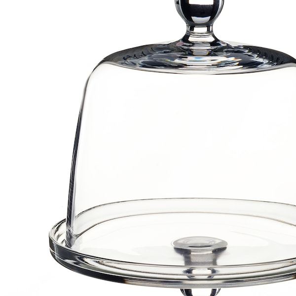 INBJUDEN Serving stand with lid, clear glass, 19 cm