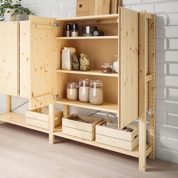 IVAR 2 sections/shelves/cabinet, pine, 174x30x124 cm