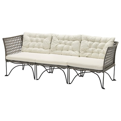 JUTHOLMEN 3-seat modular sofa, outdoor, dark grey/Kuddarna beige, 210x73 cm