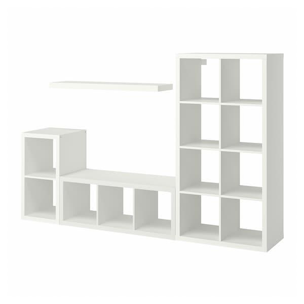 KALLAX / LACK Storage combination with shelf, white, 231x39x147 cm