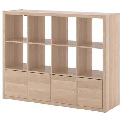KALLAX shelving unit with 4 inserts white stained oak effect 147 cm 39 cm 112 cm 13 kg