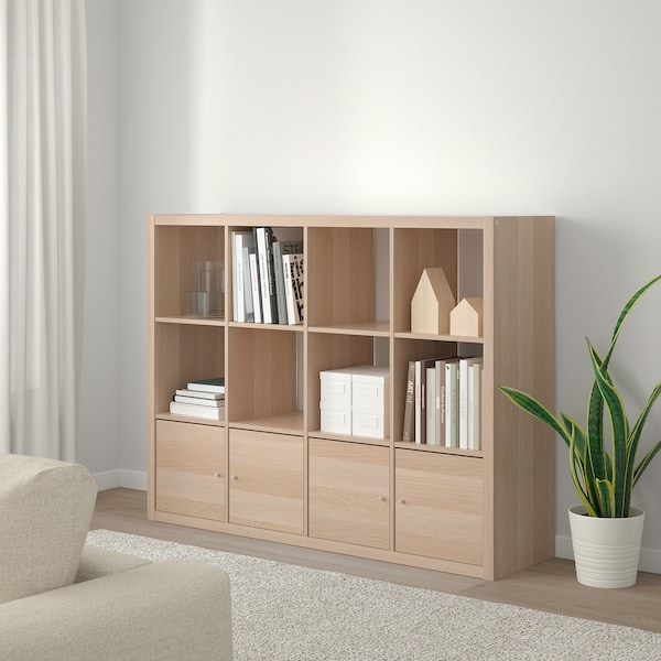 KALLAX Shelving unit with 4 inserts, white stained oak effect, 147x112 cm