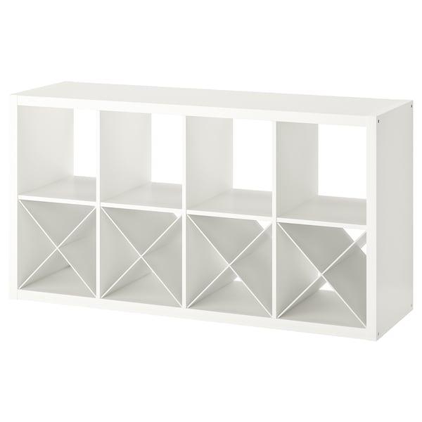 KALLAX Shelving unit with 4 inserts, white, 77x147 cm