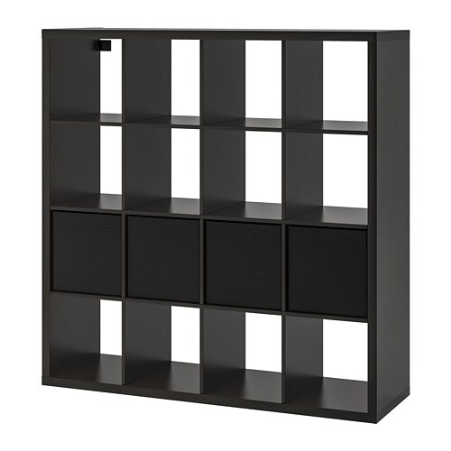 Kallax Shelving Unit With 4 Inserts Black Brown