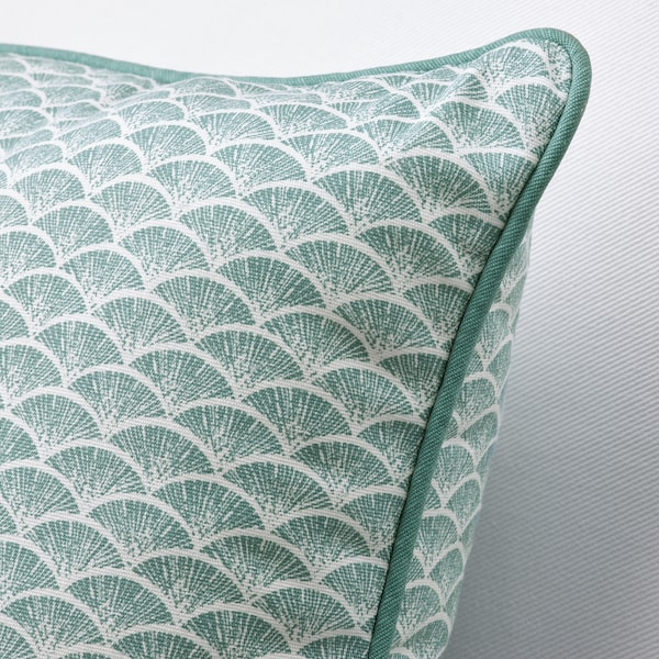 KASKADGRAN Cushion, grey-turquoise/white, 40x40 cm