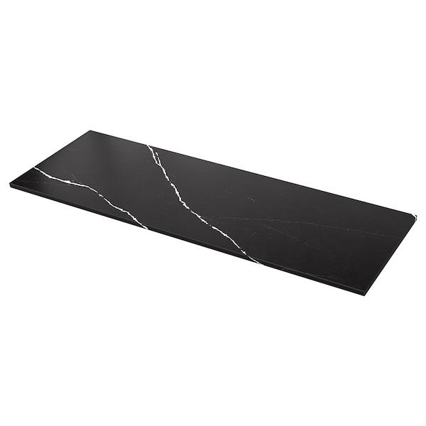 KASKER Custom made worktop, matt black/marble effect quartz, 1 m²x3.0 cm