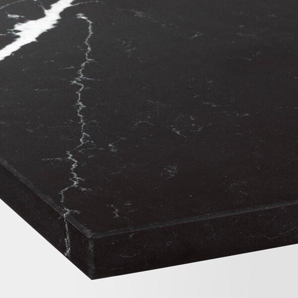 KASKER Custom made worktop, matt black/marble effect quartz, 1 m²x2.0 cm