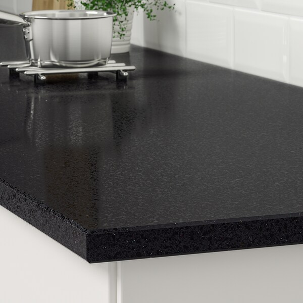 KASKER custom made worktop black with mineral/glitter effect/quartz 100 cm 20 cm 295 cm 10.0 cm 135.0 cm 3.0 cm 1 m²