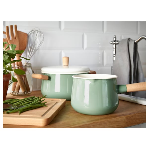 KASTRULL Saucepan with lid, green, 1.5 l