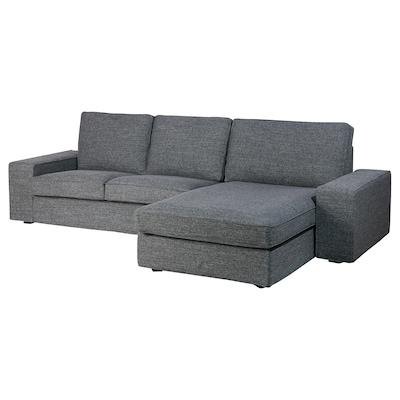 KIVIK 3-seat sofa with chaise longue/Lejde grey/black 280 cm 83 cm 95 cm 163 cm 60 cm 124 cm 45 cm