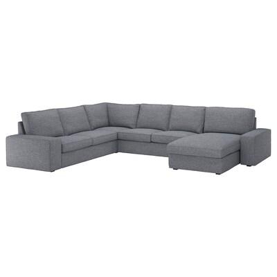 KIVIK Corner sofa, 5-seat, with chaise longue/Lejde grey/black