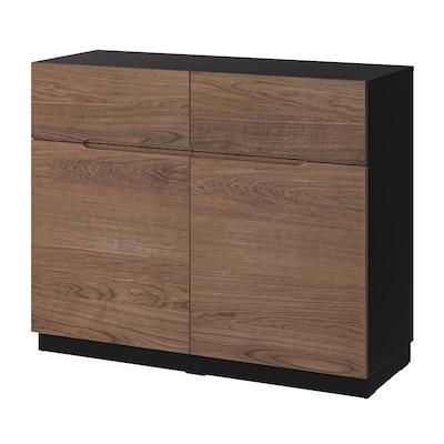 KLACKENÄS Sideboard, black/oak veneer brown stained, 120x97 cm
