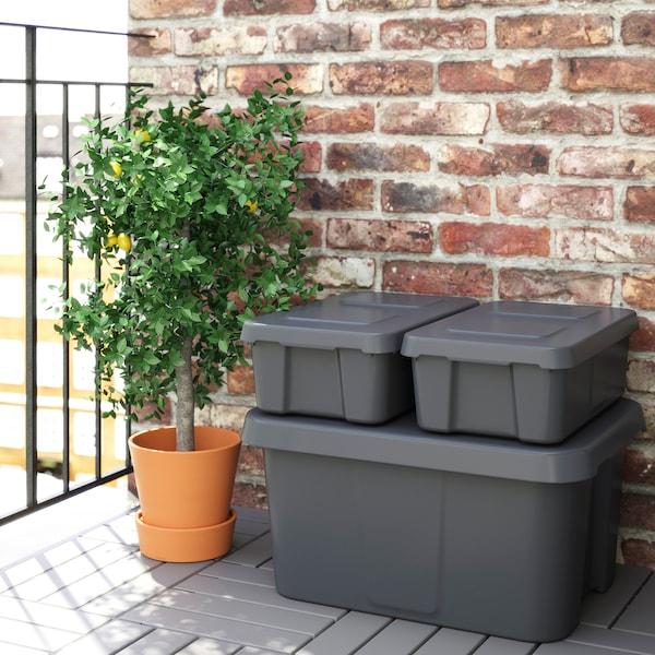 KLÄMTARE box with lid, in/outdoor dark grey 27 cm 45 cm 15 cm