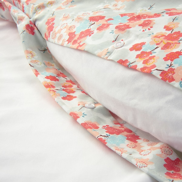 KLIBBGLIM Quilt cover and 2 pillowcases, multicolour/floral patterned, 240x220/50x60 cm