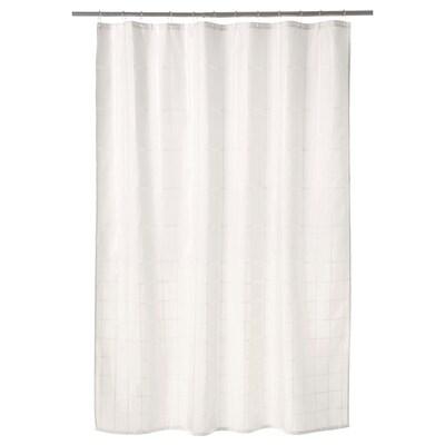 KLOCKAREN Shower curtain, off-white, 180x200 cm