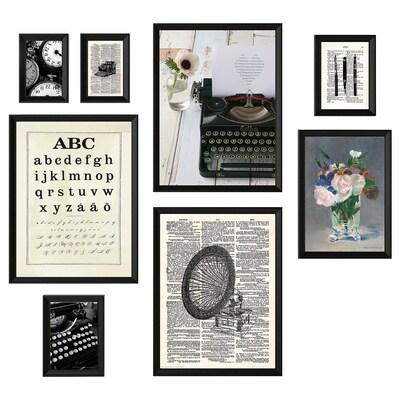 KNOPPÄNG frame with poster, set of 8 Typewriter