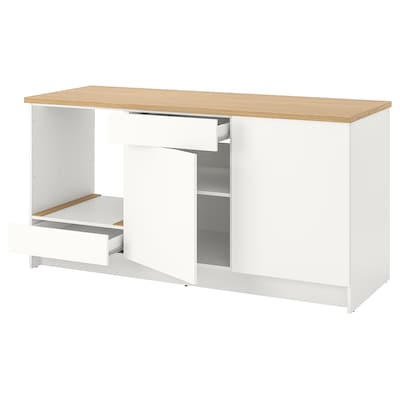 KNOXHULT Base cabinet with doors and drawer, white, 180 cm