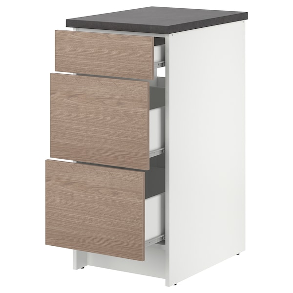 KNOXHULT base cabinet with drawers wood effect/grey 42.0 cm 40.0 cm 61.0 cm 91.0 cm