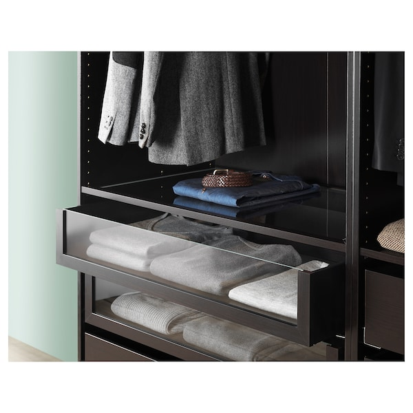 KOMPLEMENT Drawer with glass front, black-brown, 75x35 cm