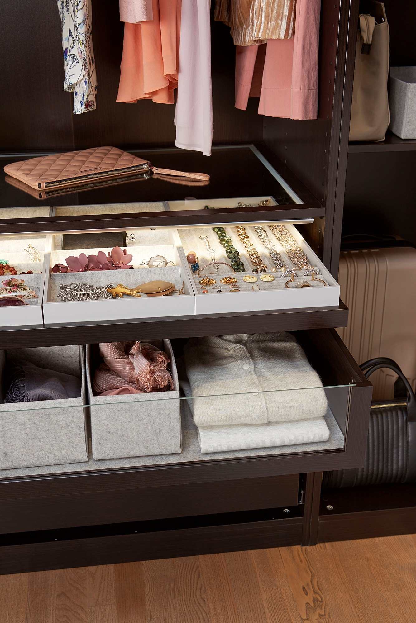 KOMPLEMENT pull-out tray with insert black-brown 46.1 cm 50 cm 56.3 cm 6.7 cm 58 cm 10 kg
