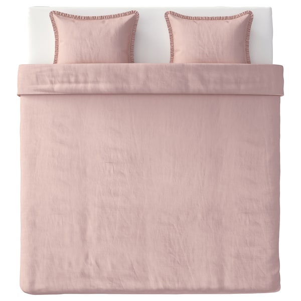 KRANSKRAGE Quilt cover and 2 pillowcases, light pink, 240x220/50x60 cm
