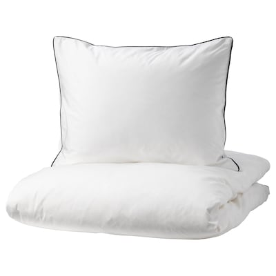 KUNGSBLOMMA Quilt cover and 2 pillowcases, white/grey, 240x220/50x60 cm