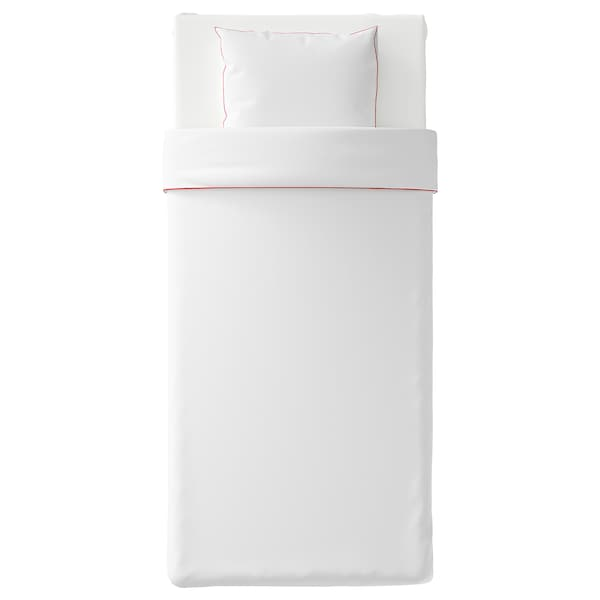 KUNGSBLOMMA quilt cover and pillowcase white/red 200 /inch² 1 pack 200 cm 150 cm 50 cm 60 cm