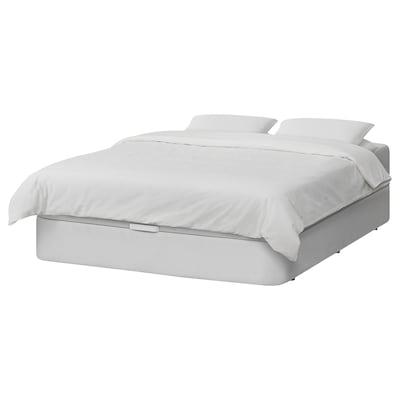 KVITSÖY Upholstered ottoman bed, Bomstad white, 160x200 cm