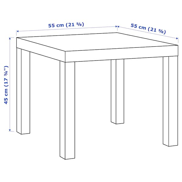 LACK Side table, white/green, 55x55 cm