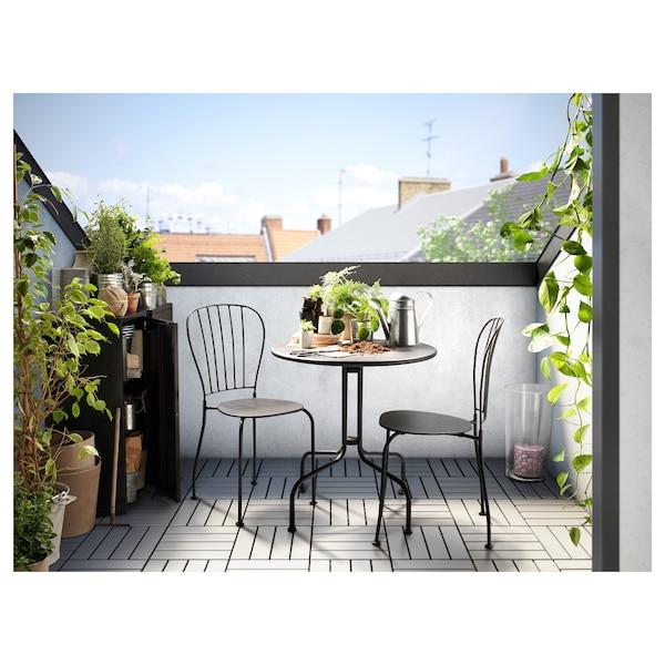 LÄCKÖ table+2 chairs, outdoor grey