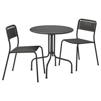 LÄCKÖ / VIHOLMEN Table+2 chairs, outdoor, grey/dark grey