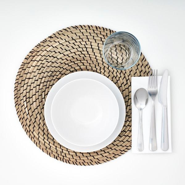LÄTTAD place mat seagrass/black 37 cm