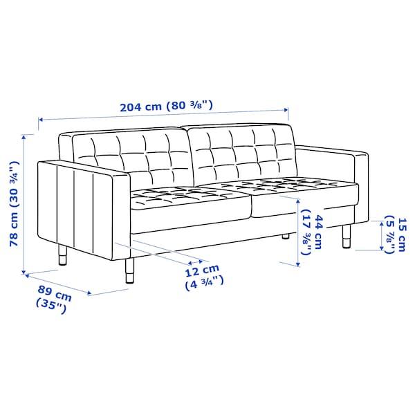 LANDSKRONA 3-seat sofa, Gunnared dark grey/wood