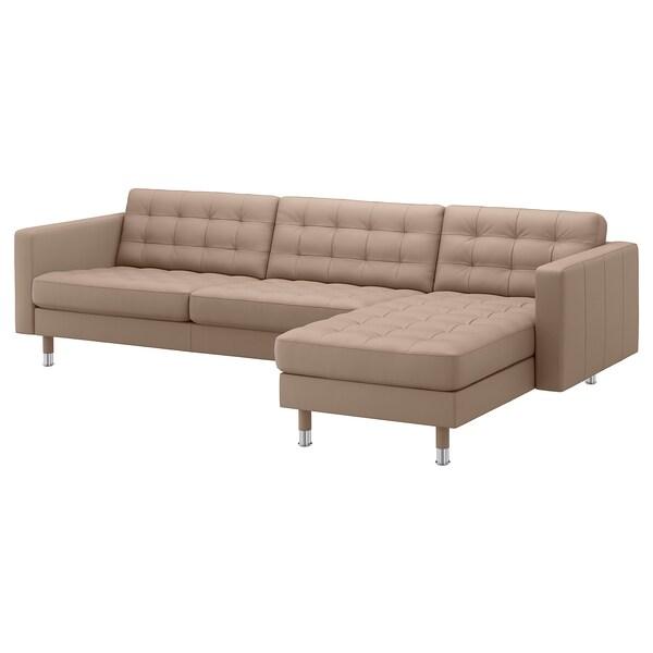 LANDSKRONA 4-seat sofa, with chaise longue/Grann/Bomstad dark beige/metal