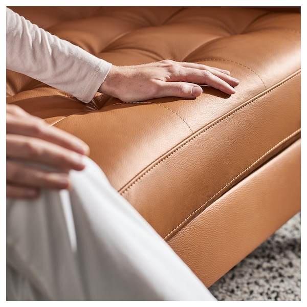 LANDSKRONA 4-seat sofa, with chaise longue/Grann/Bomstad golden-brown/metal