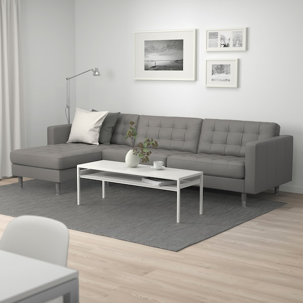 LANDSKRONA 4-seat sofa, with chaise longue/Grann/Bomstad grey-green/metal