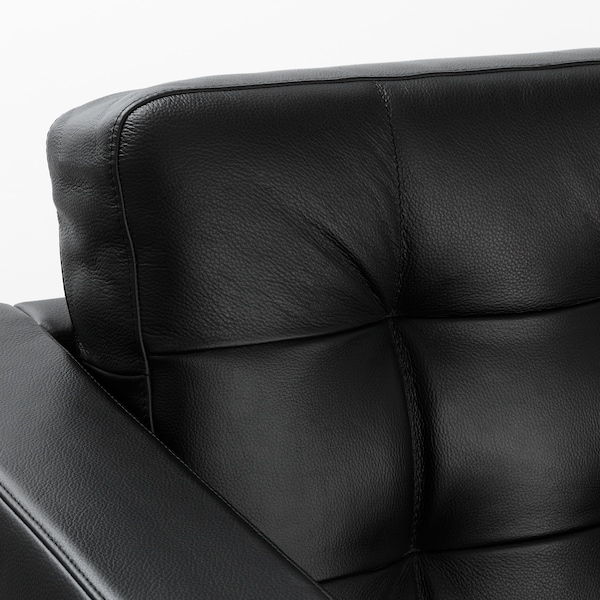 LANDSKRONA 4-seat sofa with chaise longue/Grann/Bomstad black/metal 282 cm 78 cm 89 cm 158 cm 64 cm 61 cm 128 cm 44 cm