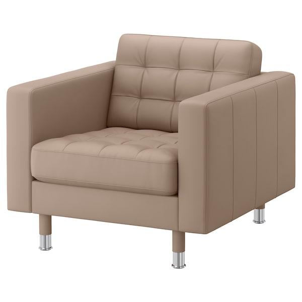 LANDSKRONA armchair Grann/Bomstad dark beige/metal 89 cm 89 cm 78 cm 65 cm 61 cm 44 cm