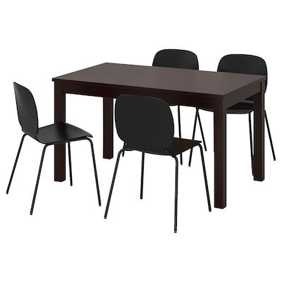 LANEBERG / SVENBERTIL Table and 4 chairs, brown/black black, 130/190x80 cm
