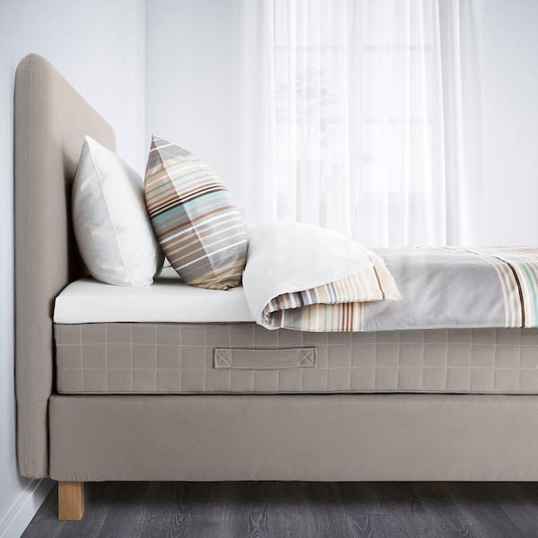 LAUVIK divan bed Hamarvik medium firm/Tuddal dark beige 210 cm 140 cm 120 cm 200 cm 140 cm