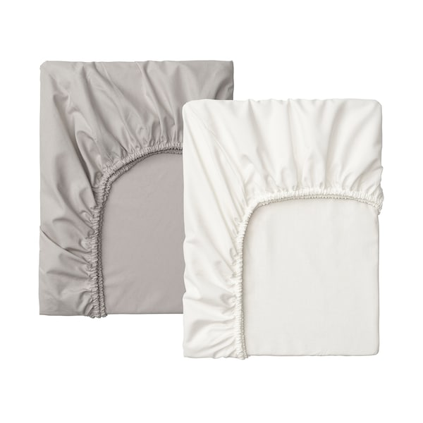 LENAST fitted sheet for cot white/grey 120 cm 60 cm 2 pack