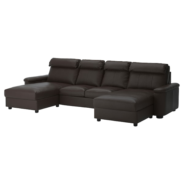 LIDHULT 4-seat sofa, with chaise longues/Grann/Bomstad dark brown