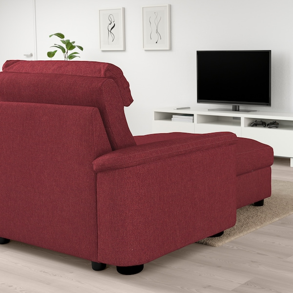 LIDHULT Corner sofa-bed, 6-seat, with chaise longue/Lejde red-brown