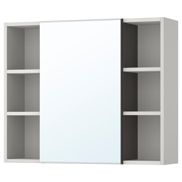 LILLÅNGEN mirror cabinet 1 door/2 end units black-brown/grey 78 cm 21 cm 64 cm