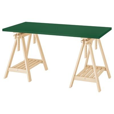 LINNMON / FINNVARD Table, green/birch, 150x75 cm