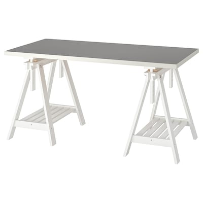LINNMON / FINNVARD Table, light grey/white, 150x75 cm
